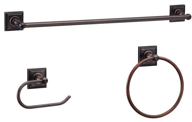 Aurora Series 3 Piece Oil Rubbed Bronze Bathroom Hardware Set - Traditional - Towel Bars And ...