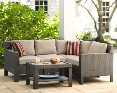 Hampton Bay Patio Tables Beverly 5 Piece Patio Sectional Seating Set With Beige Contemporary