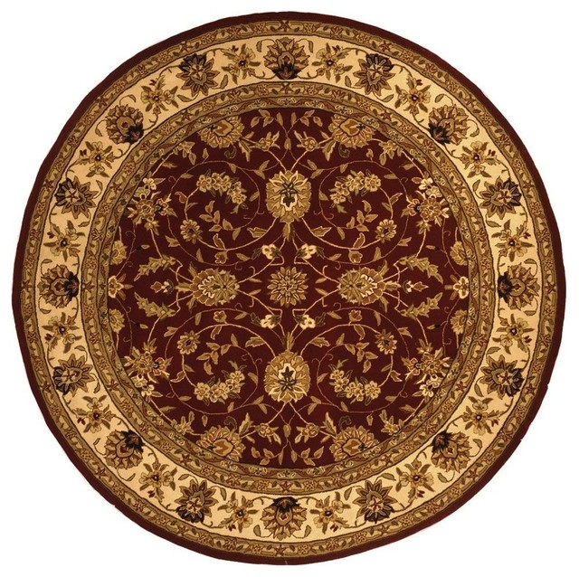 Traditional Traditions Round 8' Round Burgundy - Ivory Area Rug traditional-area-rugs