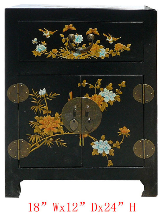 Chinese Black Leather Surface Flower Bird Motif Nightstand End Table - Look at this Chinese black nightstand end table hand paint side cabinet which is made of elm wood and the outside of cabinet is wrapped artificial leather, and the inside of cabinet has Chinese calligraphy on it.