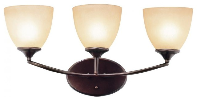 Three Light Rubbed Oil Bronze Tea Stain Cup Glass Wall Light traditional-wall-lighting