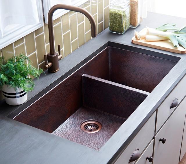 Cocina Duet Pro Copper Kitchen Sink in Antique transitional-kitchen-sinks