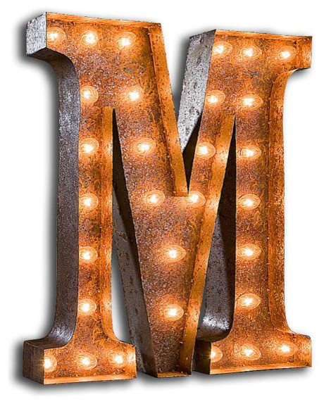 Vintage Industrial Metal Marquee Light by Vintage Marquee Lights eclectic-lighting