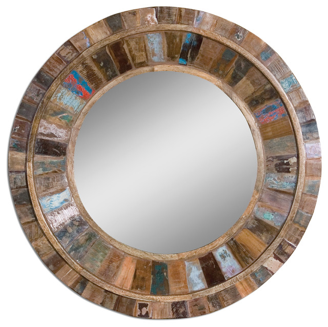 Uttermost 4017 Jeremiah Round Mirror With Reclaimed Old