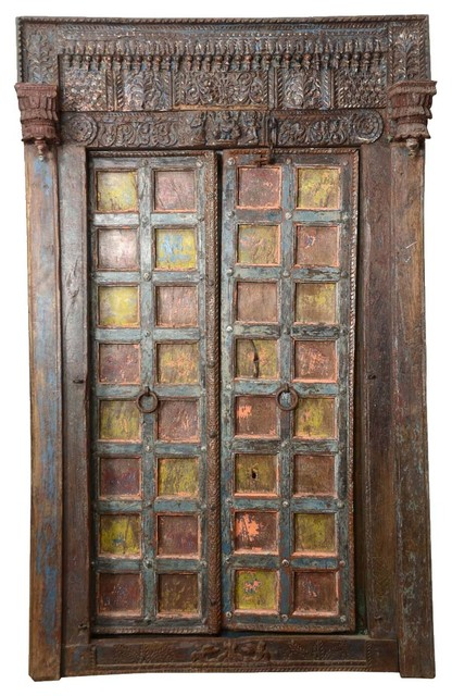 Gothic Hand Carved Reclaimed Teak Wood Double Door & Frame - Traditional - Interior Doors - by ...