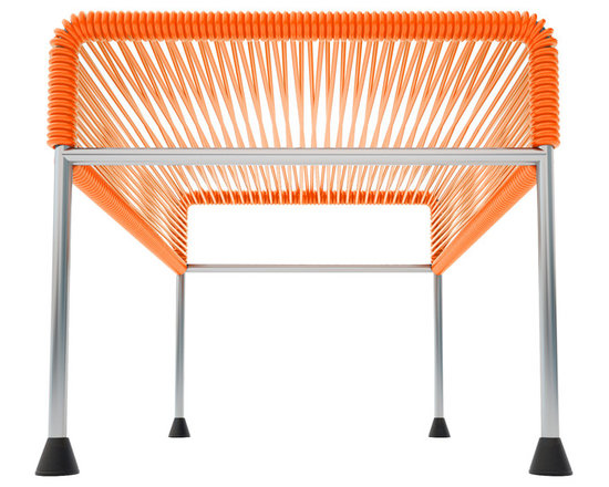 Adam Ottoman, Chrome Frame With Orange Weave - Sleek woven vinyl makes this coffee table stand out from the crowd. It's a great option for indoor and outdoor entertaining since the vinyl is UV protected and the metal base is galvanized. The only challenge would be deciding on your favorite color top to pair with the sleek chrome base.