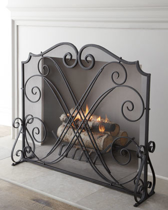 Dancing Scrolls Fireplace Screen traditional-indoor-fireplaces