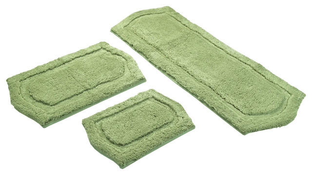 Sage Green Memory Foam 3 Piece Bath Mat Set Contemporary