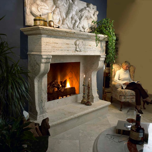 Showroom Stone Fireplace Surrounds traditional-indoor-fireplaces