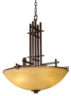 Franklin iron works metro bronze modern pendant chandelier for Modern craftsman lighting