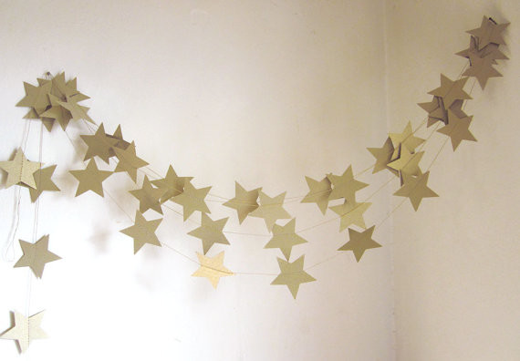 Gold Stars Garland By Art 39 S Delight Contemporary Home Decor By Etsy