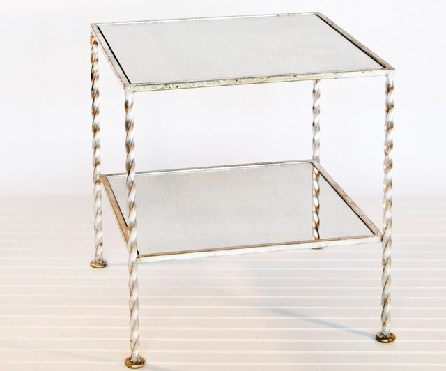 Worlds Away 2 Tier Square Table in Silver Leaf with Antique Mirror traditional side tables and accent tables