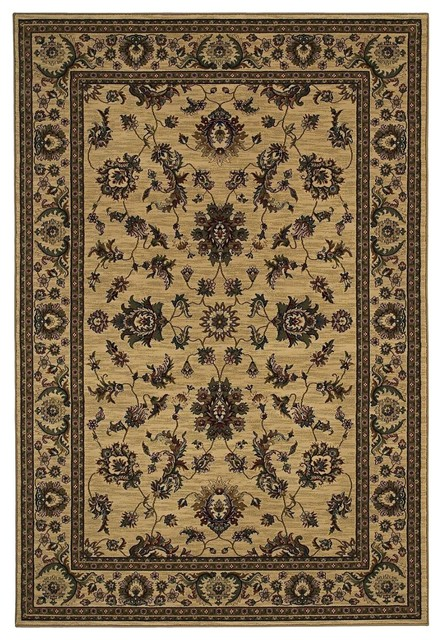 Traditional ariana square 8 39 square ivory green area rug for Traditional kitchen rugs