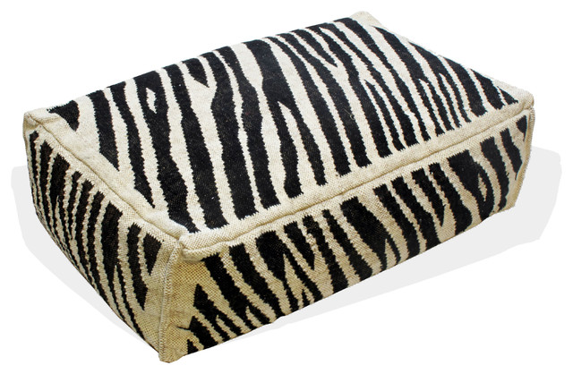 Animal Print Floor Pillows : Zebra Print Floor Cushion - Contemporary - Decorative Pillows