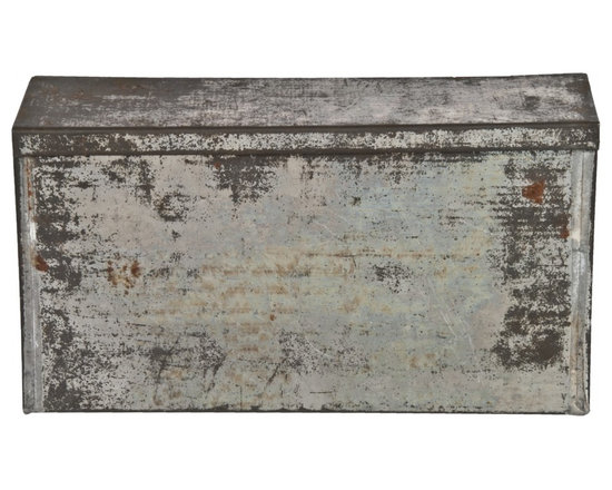 Rectangular Tin Storage Box - Vintage rustic tin rectangular storage box with hinged lid.