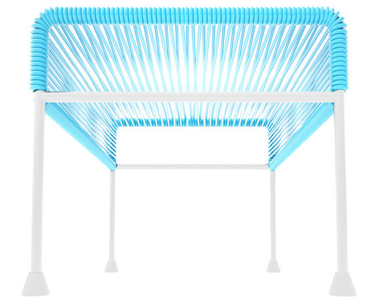 Adam Ottoman, White Frame With Blue Weave - Sleek woven vinyl makes this coffee table stand really pop. It's a great option for indoor and outdoor use since the vinyl is UV protected and the metal base is galvanized. The only challenge would be deciding on your favorite color top to pair with the crisp white base.