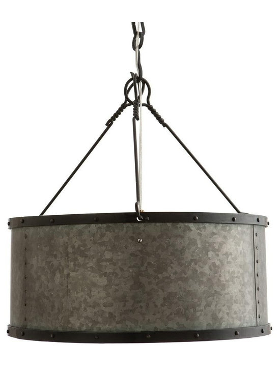 Arteriors Langston Small Pendant - Galvanized one light pendant with an iron band and nail head detailing at the top and bottom. Its smaller size makes it perfect for a powder room or hallway. Shown with Nostalgic thread bulb. Additional chain available. Pendant Dim H: 9 Pendant Dim Dia: 19 Canopy Dimension H: 1.5 Canopy Dimension Dia: 5.75