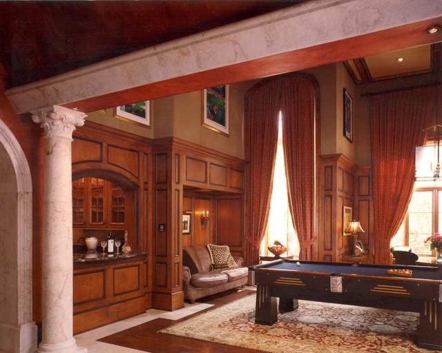 Italian Mediterranean Garden Villa mediterranean-family-room