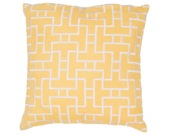 Jaipur - Modena Pillow, Yellow Set of 2 - Funky range of pillows in poly dupione use rich jewel tones expressed in a highly textural and fun way. Perfect for a touch of retro glamour in your home.