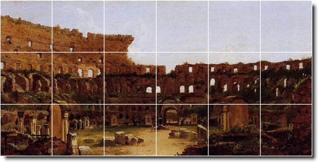 Interior Of The Colosseum Rome Tile Mural By Thomas Cole traditional-tile-murals
