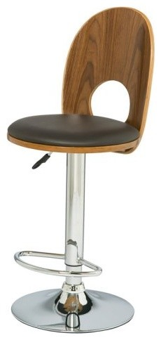 Leick Espresso Back Adjustable Height Swivel Bar Stools - Set of 2 contemporary-bar-stools-and-counter-stools