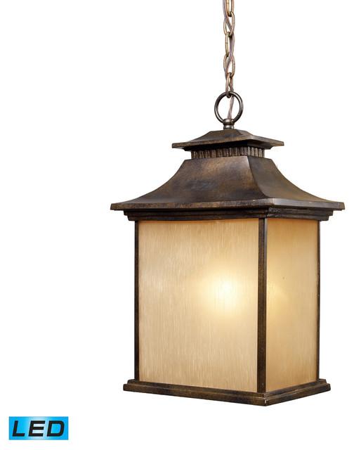 Traditional Outdoor Pendant Lighting : Elk lighting led san gabriel outdoor pendant