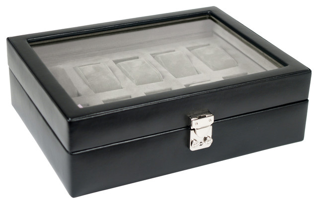 Heritage 10PC Watch Storage Box w/cover in Black traditional-storage-and-organization