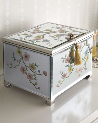 L & E Mirrored Floral Jewelry Box - Traditional - Storage Bins And Boxes - by Horchow