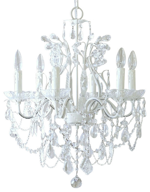 6 Light White Crystal Chandelier Traditional