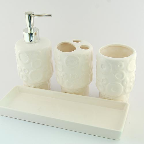 Abstract embossment design ceramic bath accessory set for Ceramic bathroom accessories