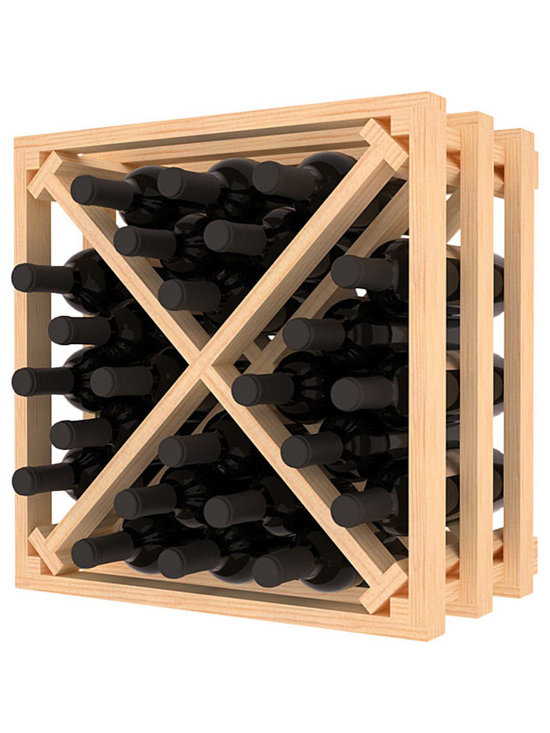Lattice Stacking X Wine Cube in Pine - Designed to stack one on top of the other for space-saving wine storage our stacking cubes are ideal for an expanding collection. Use as a stand alone rack in your kitchen or living space or pair with the 16-Bottle Cubicle Wine Rack and/or the Stemware Rack Cube for flexible storage.