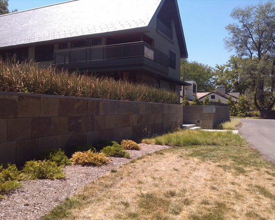 Bluestone veneer wall - Retaining walls with Natural Cleft Full Color Bluestone used as a veneer cladding.  Installation by RS Services, stone supplied by Sturgis Materials