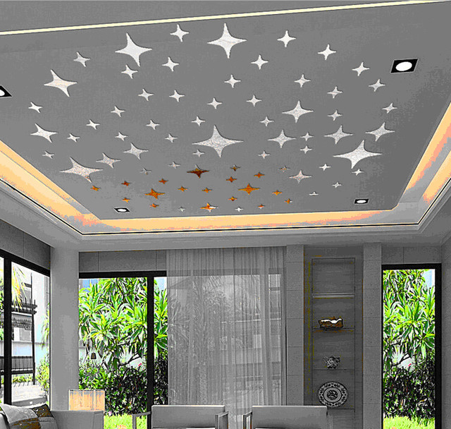 ceiling lovely stars planet 3d mirror wall decals best