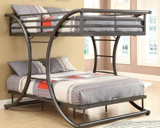 Gun Metal Full Over Full Size Bunk Bed -
