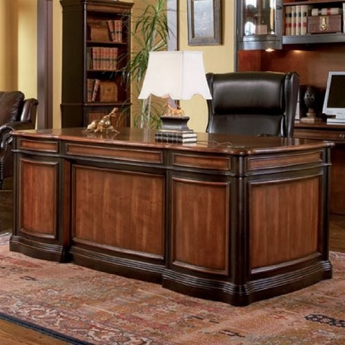 Home Office Executive Desk Two Tone Warm Brown Finish