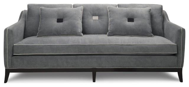 Sofa With Piping Contemporary Blue Fabric Sectional Sofa