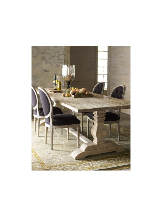 """Horchow - Natural Dining Table & Black Linen Chairs - Elegantly simply best describes this dining furniture. Save with discounted delivery and processing charges when you order a set. Dining set includes one table and six chairs. Table is handcrafted of reclaimed pine with a bleached finish. 110""""L x 40""""D..."""
