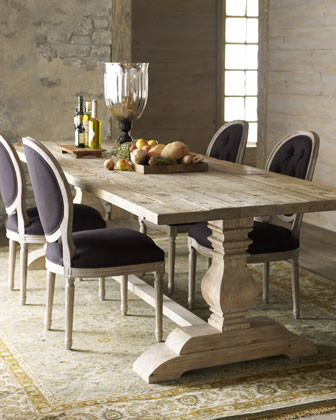 Natural Dining Table & Black Linen Chairs traditional-dining-tables