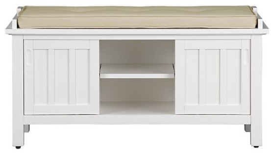 Brighton White Storage Bench with Natural Cushion | Crate&Barrel traditional benches