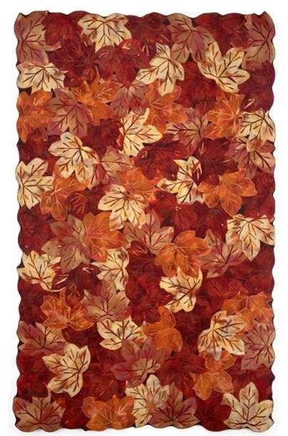 Leaf Red Design Outdoor Rug outdoor-rugs