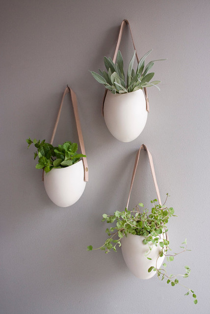 Set of 3 porcelain and leather hanging containers by for Decorative hanging pots