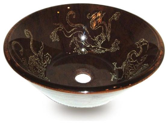 Fontaine Brown Dragon Glass Vessel Sink Set W Drain