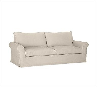 PB Comfort Roll-Arm Slipcovered Grand Sofa, Down-Blend Wrap Cushions, Brushed Ca traditional-sofas