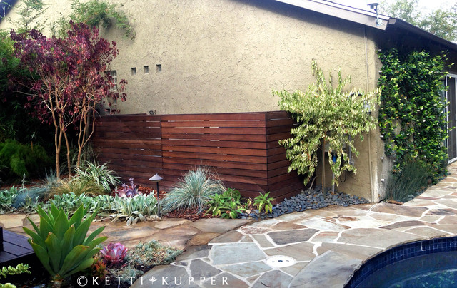 Reclaimed Wood Pool Equipment Fence Eclectic Landscape