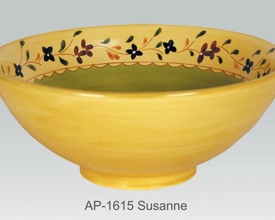 "Hand Painted Vessels Sinks by Atlantis - ""SUSANNE"" Shown on AP-1615 La Fayette vessel sink O/D 15-3/4"" Dia x 6"" H center drain no overflow."