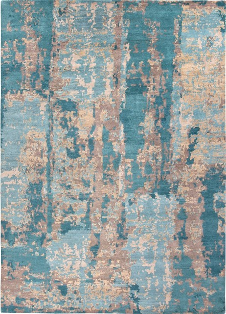 Hand-Knotted Abstract Pattern Wool Blue/Tan Area Rug ...