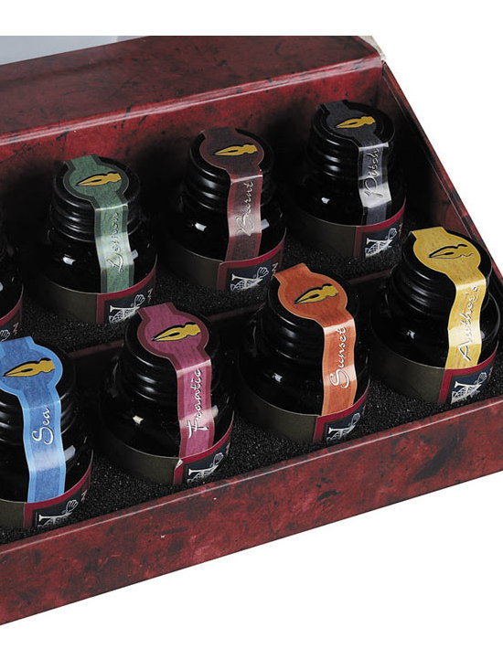 """Inviting Home - Colorful Prose Ink Set - Colorful Prose ink set; 9-1/4""""W x 2-3/4""""H x 3-1/2""""D; A collection of 12 ink bottles comprised of both subtle and brilliant colors."""