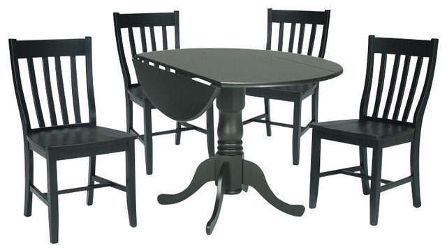 International Concepts 3 Piece Schoolhouse Dining Set in Black transitional-dining-sets