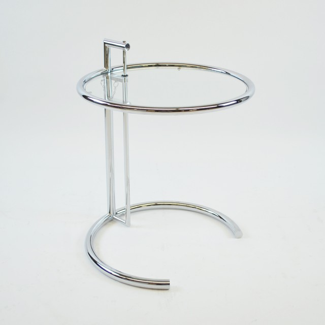 Eileen Gray Adjustable Height Chrome Side Table W Glass
