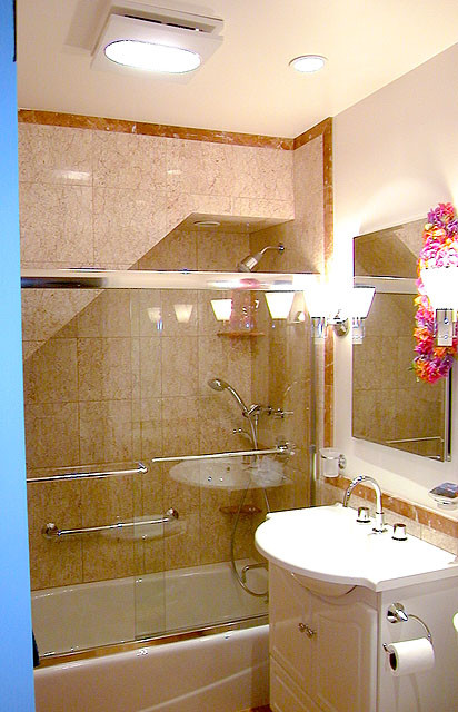 Shower and bathtub tucked under stair. - Contemporary - Bathroom ...
